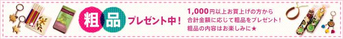 粗品プレゼント中!1,000円以上お買い上げの方から合計金額に応じて粗品をプレゼント中!